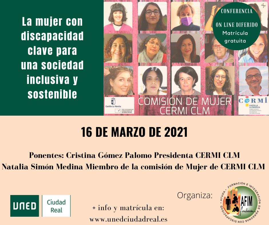 Conferencia telemática sobre la mujer con discapacidad, organizada por Fundación AFIM junto a Uned Ciudad Real