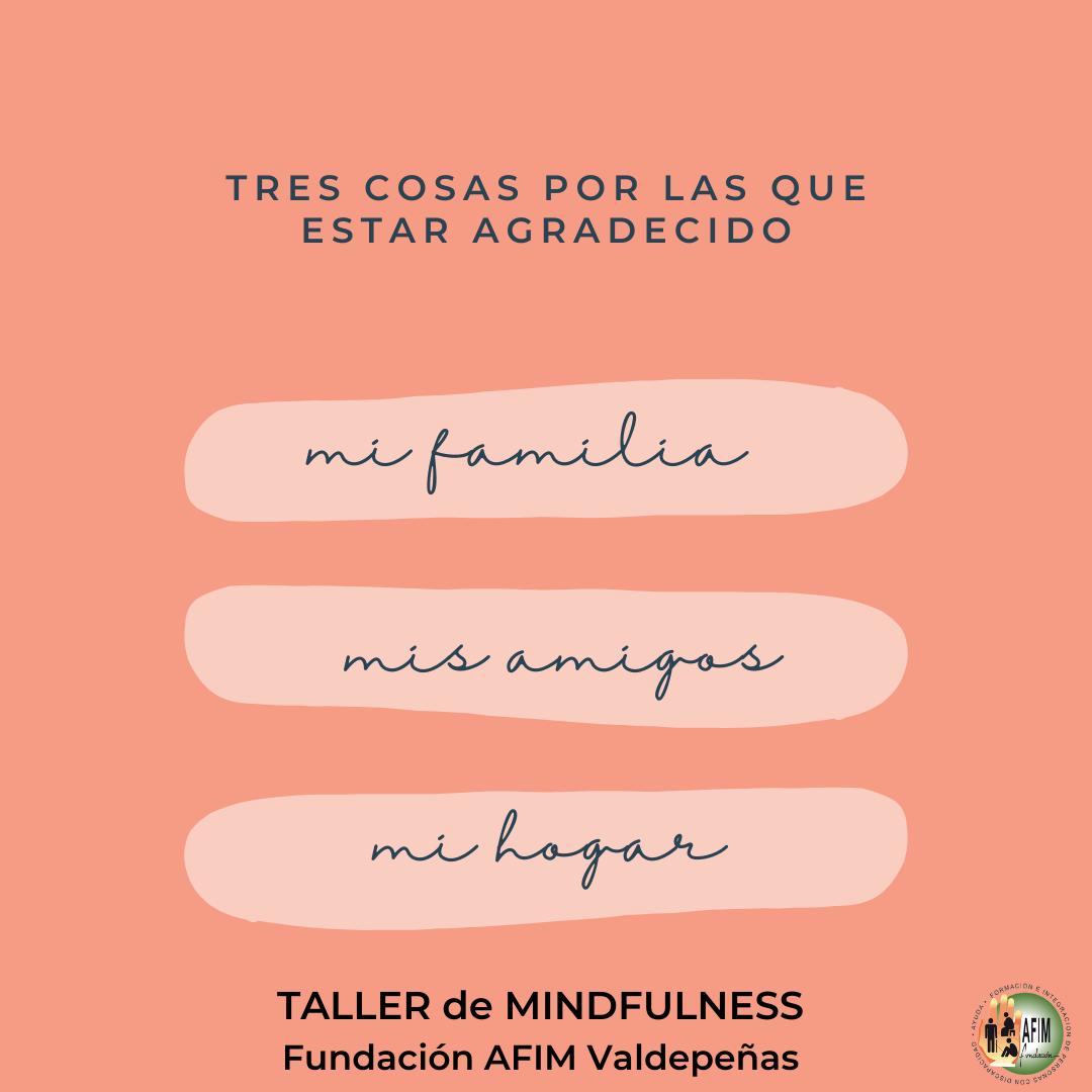 Hoy comienza un taller de Mindfulness en Fundación AFIM Valdepeñas
